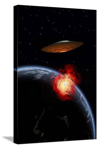 An Orbiting Ufo Launches a Deadly Attack Upon the Surface of Earth--Stretched Canvas Print