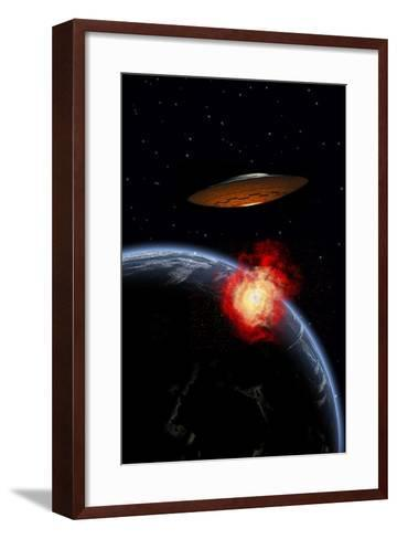 An Orbiting Ufo Launches a Deadly Attack Upon the Surface of Earth--Framed Art Print