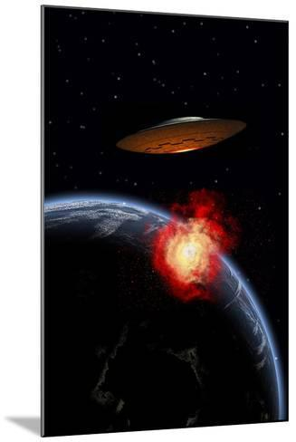 An Orbiting Ufo Launches a Deadly Attack Upon the Surface of Earth--Mounted Art Print
