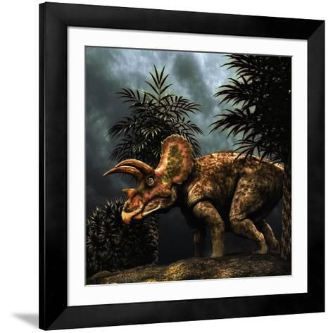 Triceratops Was a Herbivorous Dinosaur from the Cretaceous Period--Framed Art Print