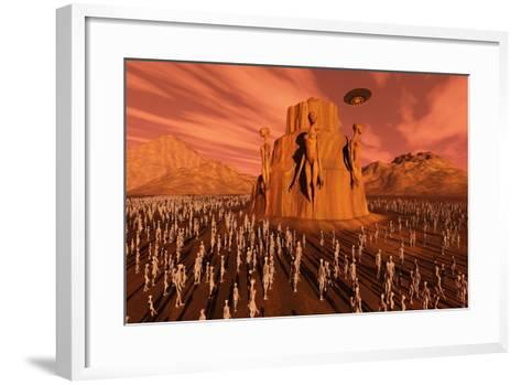 Martians Gathering around a Monument Dedicated to their Ancestors--Framed Art Print