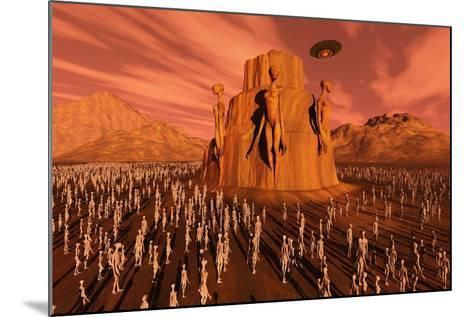 Martians Gathering around a Monument Dedicated to their Ancestors--Mounted Art Print