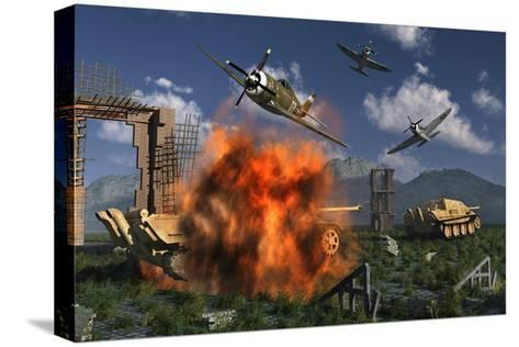 P-47 Thunderbolts Attacking German Jagdpanther Tanks During World War Ii--Stretched Canvas Print