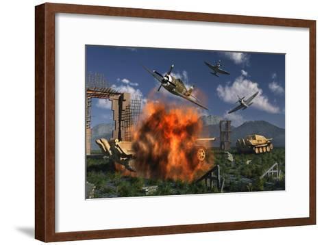 P-47 Thunderbolts Attacking German Jagdpanther Tanks During World War Ii--Framed Art Print