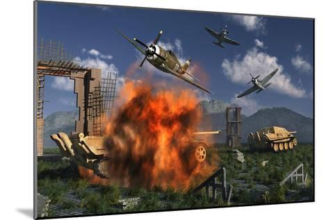 P-47 Thunderbolts Attacking German Jagdpanther Tanks During World War Ii--Mounted Art Print