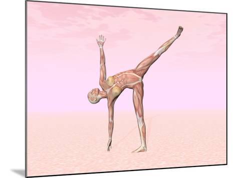Female Musculature Performing Half Moon Yoga Pose--Mounted Art Print