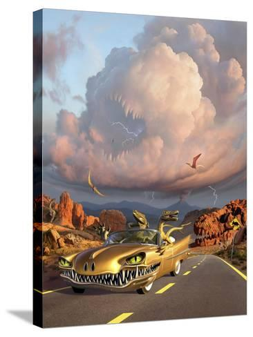 Two Velociraptors in their Scary Car Cruise a Prehistoric Landscape--Stretched Canvas Print