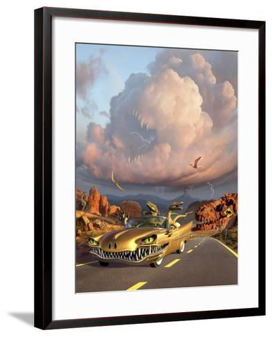 Two Velociraptors in their Scary Car Cruise a Prehistoric Landscape--Framed Art Print