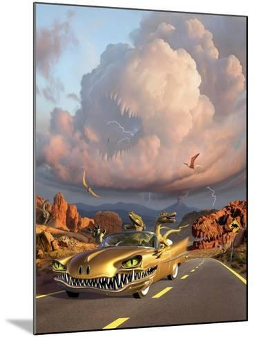 Two Velociraptors in their Scary Car Cruise a Prehistoric Landscape--Mounted Art Print