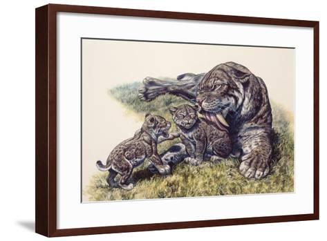 Smilodon Sabertooth Mother and Her Cubs--Framed Art Print