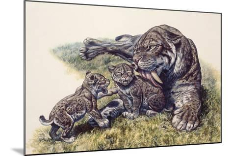 Smilodon Sabertooth Mother and Her Cubs--Mounted Art Print