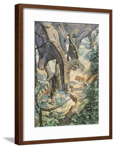Jobaria Sauropods and Afroventor Raptors of the Mid-Cretaceous Period--Framed Art Print
