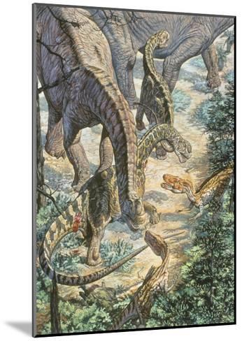 Jobaria Sauropods and Afroventor Raptors of the Mid-Cretaceous Period--Mounted Art Print