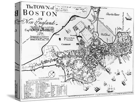 1722 Map of Boston--Stretched Canvas Print