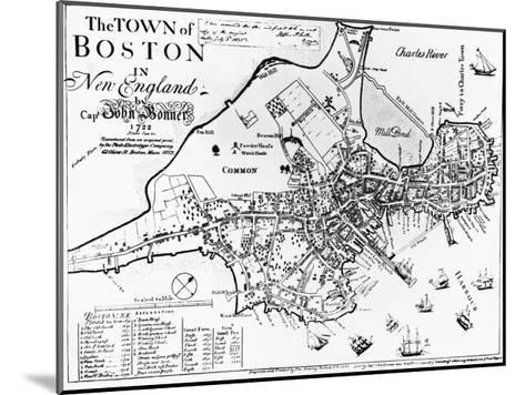 1722 Map of Boston--Mounted Giclee Print