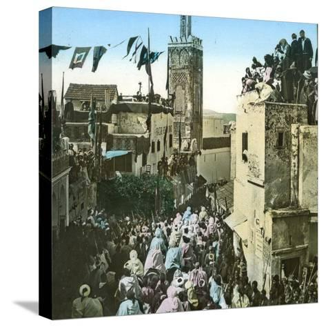 The Sultan's Cavalry Going to the Mosque, Tangier (Morocco), Circa 1885-Leon, Levy et Fils-Stretched Canvas Print