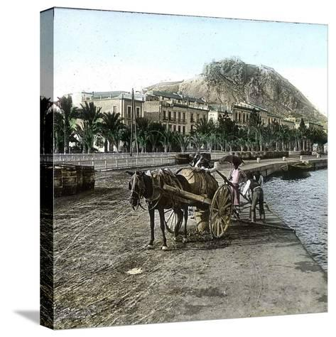 Alicante (Spain), Cistern on the Seaside and View of the Hill of Fort Santa Barbara-Leon, Levy et Fils-Stretched Canvas Print