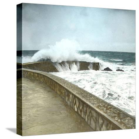 Biarritz (Atlantic-Pyrennes, France), Effects of the Sea-Leon, Levy et Fils-Stretched Canvas Print
