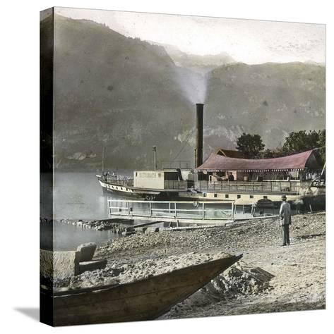 Boats on Lake Brienz (Switzerland), Circa 1865-Leon, Levy et Fils-Stretched Canvas Print