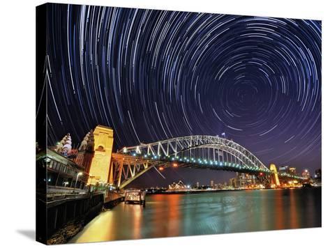 Star-Trail over Sydney-AtomicZen-Stretched Canvas Print