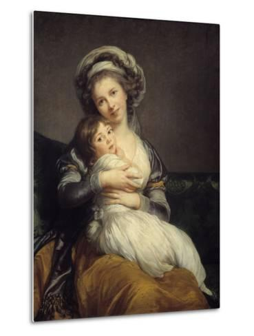 Self-Portrait in a Turban with Her Child by Elisabeth Louise Vigee-Lebrun--Metal Print