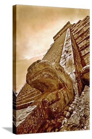 Serpent Head and Long Stairway on Pyramid of Kukulcan-Thom Lang-Stretched Canvas Print