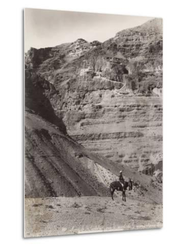 Palestinian Man on Donkey--Metal Print