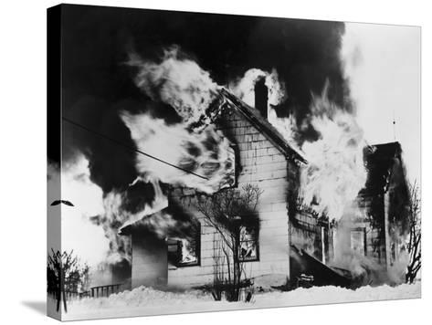 Burning House in Winter--Stretched Canvas Print
