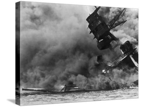 The USS Arizona Burning after the Japanese Attack on Pearl Harbor, Dec. 7, 1941--Stretched Canvas Print