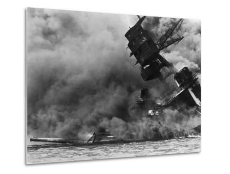 The USS Arizona Burning after the Japanese Attack on Pearl Harbor, Dec. 7, 1941--Metal Print