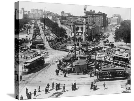 Construction at Columbus Circle in New York City--Stretched Canvas Print