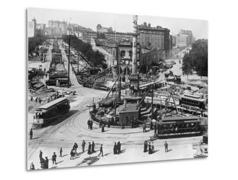 Construction at Columbus Circle in New York City--Metal Print