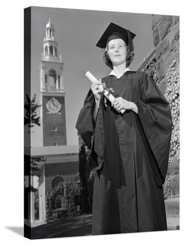Woman in Mortarboard and Gown-Philip Gendreau-Stretched Canvas Print