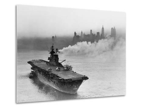 Large Ship Offshore of City Site--Metal Print