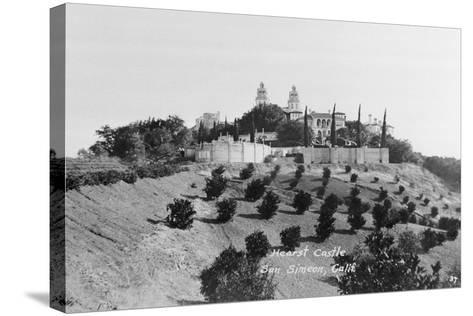 Exterior View of William R. Hearst's Castle with Landscape--Stretched Canvas Print