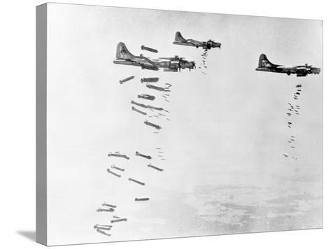 Military Airplanes Dropping Shells over Germany--Stretched Canvas Print