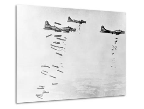Military Airplanes Dropping Shells over Germany--Metal Print