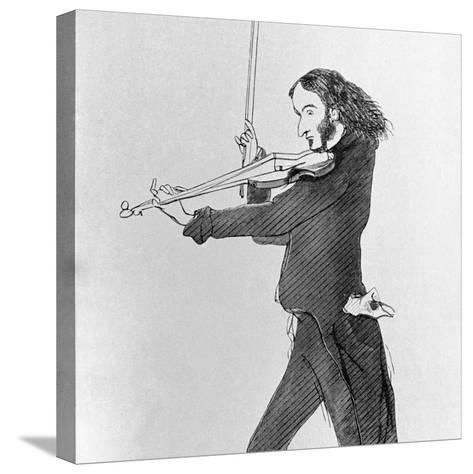 Nicolo Paganini Playing Violin--Stretched Canvas Print