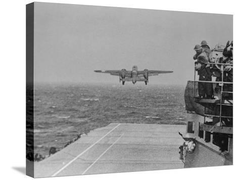 Doolittle Raid on Tokyo,B-25 Leaves USS Hornet--Stretched Canvas Print