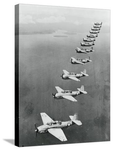 War Planes Flying in Formation--Stretched Canvas Print