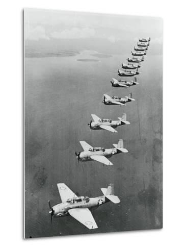 War Planes Flying in Formation--Metal Print
