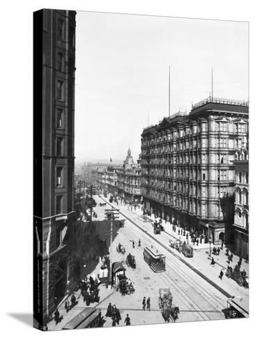 Streetcars in Front of Palace Hotel--Stretched Canvas Print