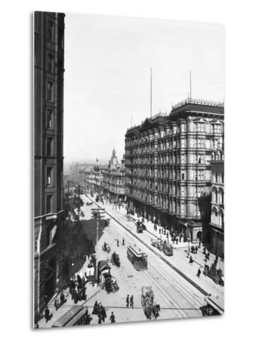 Streetcars in Front of Palace Hotel--Metal Print