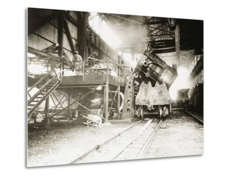 Pouring Ladle at River Rouge--Metal Print