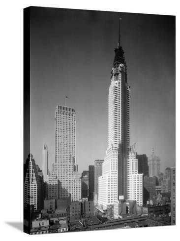 Chrysler Building under Construction--Stretched Canvas Print