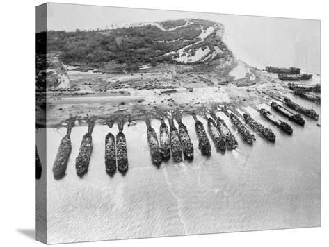 Aerial View of Ships Assaulting Leyte--Stretched Canvas Print