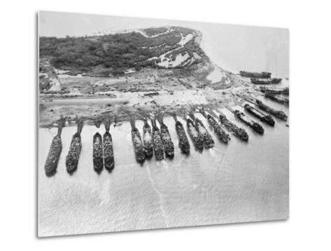 Aerial View of Ships Assaulting Leyte--Metal Print