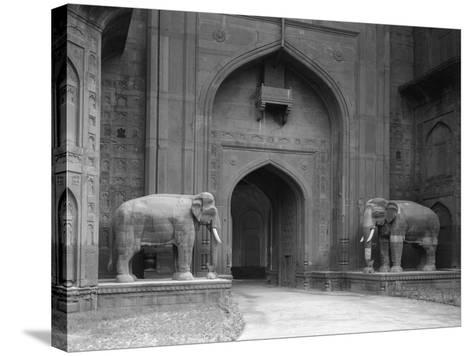 Elephant Statues at Red Fort-Philip Gendreau-Stretched Canvas Print