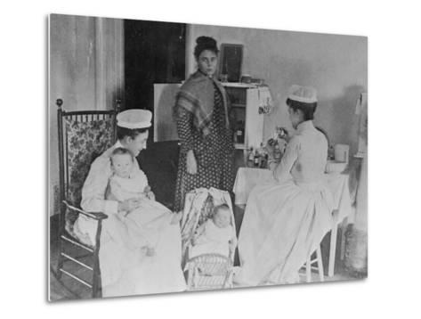 Nurses Caring for Children in Hospital--Metal Print