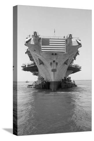 Tugboats Pushing the Aircraft Carrier John F. Kennedy--Stretched Canvas Print